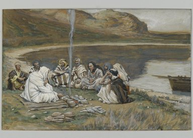 James Tissot (French, 1836-1902). <em>Meal of Our Lord and the Apostles (Repas de Notre-Seigneur et des apôtres)</em>, 1886-1894. Opaque watercolor over graphite on gray wove paper, Image: 5 15/16 x 9 5/16 in. (15.1 x 23.7 cm). Brooklyn Museum, Purchased by public subscription, 00.159.346 (Photo: Brooklyn Museum, 00.159.346_PS2.jpg)