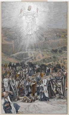 James Tissot (French, 1836-1902). <em>The Ascension (L'Ascension)</em>, 1886-1894. Opaque watercolor over graphite on gray wove paper, Image: 9 7/8 x 5 13/16 in. (25.1 x 14.8 cm). Brooklyn Museum, Purchased by public subscription, 00.159.348 (Photo: Brooklyn Museum, 00.159.348_PS1.jpg)