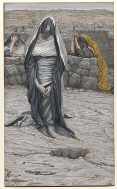 James Tissot (French, 1836-1902). <em>The Holy Virgin in Old Age (La sainte Vierge âgée)</em>, 1886-1894. Opaque watercolor over graphite on gray wove paper, Image: 8 3/4 x 5 5/16 in. (22.2 x 13.5 cm). Brooklyn Museum, Purchased by public subscription, 00.159.350 (Photo: Brooklyn Museum, 00.159.350_PS1.jpg)