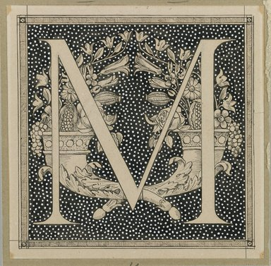 James Tissot (French, 1836-1902). <em>Capital Letter M</em>, 1886-1894. Ink on paper mounted on board, Sheet: 4 5/8 x 4 5/8 in. (11.7 x 11.8 cm). Brooklyn Museum, Purchased by public subscription, 00.159.352.10 (Photo: Brooklyn Museum, 00.159.352.10_IMLS_PS3.jpg)