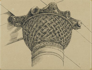 James Tissot (French, 1836-1902). <em>Capital from the Mosque of El-Aksa (Chapiteau de la mosquée d'El Aksa)</em>, 1886-1887 or 1889. Ink on paper mounted on board, Sheet: 3 7/8 x 5 3/16 in. (9.8 x 13.1 cm). Brooklyn Museum, Purchased by public subscription, 00.159.356.1 (Photo: Brooklyn Museum, 00.159.356.1_cropped_PS2.jpg)
