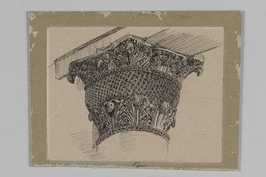 James Tissot (French, 1836-1902). <em>Capital from the Mosque of El-Aksa (Chapiteau de la mosquée d'El Aksa)</em>, 1886-1887 or 1889. Ink on paper mounted on board, Sheet: 3 7/8 x 5 1/8 in. (9.8 x 13 cm). Brooklyn Museum, Purchased by public subscription, 00.159.356.2 (Photo: Brooklyn Museum, 00.159.356.2_IMLS_PS3.jpg)
