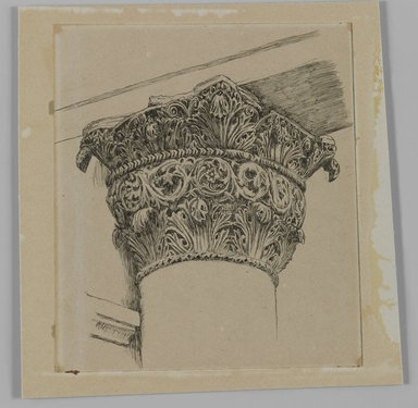 James Tissot (French, 1836-1902). <em>Capital from the Mosque of El-Aksa (Chapiteau de la mosquée d'El Aksa)</em>, 1886-1887 or 1889. Ink on paper mounted on board, Sheet: 4 3/4 x 4 5/16 in. (12.1 x 11 cm). Brooklyn Museum, Purchased by public subscription, 00.159.356.3 (Photo: Brooklyn Museum, 00.159.356.3_IMLS_PS3.jpg)