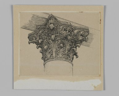James Tissot (French, 1836-1902). <em>Capital from the Mosque of El-Aksa (Chapiteau de la mosquée d'El Aksa)</em>, 1886-1887 or 1889. Ink on paper mounted on board, Sheet: 4 3/4 x 6 1/16 in. (12.1 x 15.4 cm). Brooklyn Museum, Purchased by public subscription, 00.159.356.4 (Photo: Brooklyn Museum, 00.159.356.4_IMLS_PS3.jpg)
