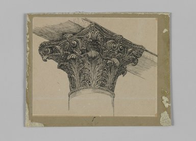 James Tissot (French, 1836-1902). <em>Capital from the Mosque of El-Aksa (Chapiteau de la mosquée d'El Aksa)</em>, 1886-1887 or 1889. Ink on paper mounted on board, Sheet: 4 13/16 x 6 in. (12.2 x 15.2 cm). Brooklyn Museum, Purchased by public subscription, 00.159.356.5 (Photo: Brooklyn Museum, 00.159.356.5_IMLS_PS3.jpg)