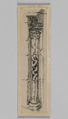 James Tissot (French, 1836-1902). <em>Column, Jerusalem</em>, 1886-1887 or 1889. Ink on paper mounted on board, Sheet: 9 3/8 x 2 3/8 in. (23.8 x 6 cm). Brooklyn Museum, Purchased by public subscription, 00.159.358.1 (Photo: Brooklyn Museum, 00.159.358.1_IMLS_PS3.jpg)