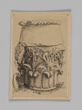 James Tissot (French, 1836-1902). <em>Corinthian Capital from the Tomb of Queen Helen (Chapiteau corinthien, tombeau de la reine Hélène)</em>, 1886-1887 or 1889. Pen and ink on paper mounted on board, Sheet: 5 9/16 x 3 13/16 in. (14.1 x 9.7 cm). Brooklyn Museum, Purchased by public subscription, 00.159.358.4 (Photo: Brooklyn Museum, 00.159.358.4_IMLS_PS3.jpg)