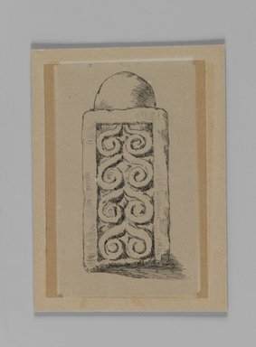 James Tissot (French, 1836-1902). <em>Pillar of Balustrade Found at Jerusalem (Pilier du balustrade, fouilles à Jérusalem)</em>, 1886-1887 or 1889. Pen and ink on paper mounted on board, Sheet: 5 x 3 7/16 in. (12.7 x 8.7 cm). Brooklyn Museum, Purchased by public subscription, 00.159.358.5 (Photo: Brooklyn Museum, 00.159.358.5_IMLS_PS3.jpg)