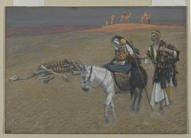 James Tissot (French, 1836-1902). <em>The Flight into Egypt (La fuite en Égypte)</em>, 1886-1894. Opaque watercolor over graphite on gray wove paper, Image: 6 5/16 x 9 in. (16 x 22.9 cm). Brooklyn Museum, Purchased by public subscription, 00.159.35 (Photo: Brooklyn Museum, 00.159.35_PS2.jpg)
