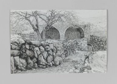 James Tissot (French, 1836-1902). <em>Fountain of the Virgin at Ain-Karim</em>, 1886-1887 or 1889. Pen and ink on paper, Sheet: 5 1/16 x 7 9/16 in. (12.9 x 19.2 cm). Brooklyn Museum, Purchased by public subscription, 00.159.360 (Photo: Brooklyn Museum, 00.159.360_IMLS_PS3.jpg)