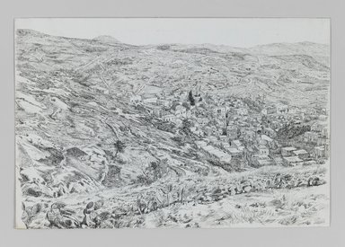 James Tissot (French, 1836-1902). <em>View of Nazareth</em>, 1886-1887 or 1889. Pen and black ink with graphite underdrawing on wove paper, sheet: 7 1/16 × 10 9/16 in. (17.9 × 26.8 cm). Brooklyn Museum, Purchased by public subscription, 00.159.361 (Photo: Brooklyn Museum, 00.159.361_IMLS_PS3.jpg)