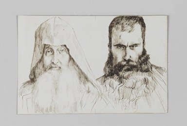 James Tissot (French, 1836-1902). <em>Types of Armenian Men in Jerusalem</em>, 1886-1887 or 1889. Pen and ink on paper mounted on board, Sheet: 4 11/16 x 7 1/8 in. (11.9 x 18.1 cm). Brooklyn Museum, Purchased by public subscription, 00.159.362 (Photo: Brooklyn Museum, 00.159.362_IMLS_PS3.jpg)