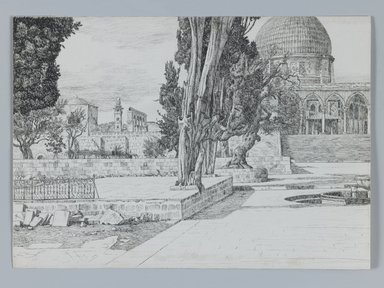 James Tissot (French, 1836-1902). <em>Haram: Mosque of Es-Sakrah Called Mosque of Omar, Jerusalem</em>, 1886-1887 or 1889. Pen and ink on wove paper Brooklyn Museum, Purchased by public subscription, 00.159.364 (Photo: Brooklyn Museum, 00.159.364_IMLS_PS3.jpg)