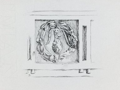 James Tissot (French, 1836-1902). <em>Judaic Ornament</em>, 1886-1887 or 1889. Pen and ink on paper mounted on board, Sheet: 5 9/16 x 8 3/8 in. (14.1 x 21.3 cm). Brooklyn Museum, Purchased by public subscription, 00.159.366.1 (Photo: Brooklyn Museum, 00.159.366.1_IMLS_PS3.jpg)