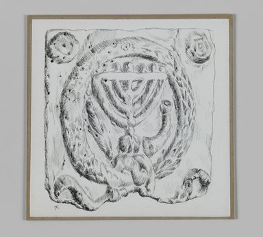 James Tissot (French, 1836-1902). <em>Judaic Ornament (Menorah)</em>, 1886-1887 or 1889. Pen and ink on paper mounted on board, Sheet: 4 15/16 x 5 1/16 in. (12.6 x 12.8 cm). Brooklyn Museum, Purchased by public subscription, 00.159.366.4 (Photo: Brooklyn Museum, 00.159.366.4_IMLS_PS3.jpg)