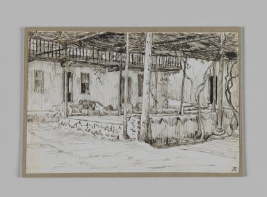 James Tissot (French, 1836-1902). <em>In Old Cairo (Au vieux Caire)</em>, 1886-1887 or 1889. Pen and ink on paper mounted on board, Sheet: 3 9/16 x 5 5/16 in. (9.1 x 13.5 cm). Brooklyn Museum, Purchased by public subscription, 00.159.368.1 (Photo: Brooklyn Museum, 00.159.368.1_IMLS_PS3.jpg)