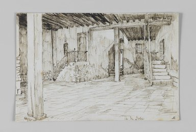 James Tissot (French, 1836-1902). <em>In the Island of Rhoda, Cairo (Dans l'île de Rhoda, au Caire)</em>, 1886-1887 or 1889. Pen and ink on paper mounted on board, Sheet: 3 9/16 x 5 5/16 in. (9 x 13.5 cm). Brooklyn Museum, Purchased by public subscription, 00.159.369 (Photo: Brooklyn Museum, 00.159.369_IMLS_PS3.jpg)