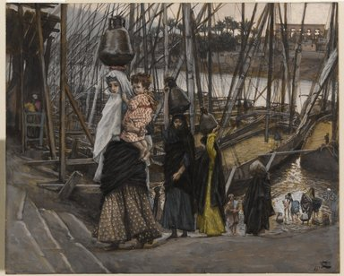 James Tissot (French, 1836-1902). <em>The Sojourn in Egypt (Le séjour en Égypte)</em>, 1886-1894. Opaque watercolor over graphite on gray wove paper, Image: 6 11/16 x 8 3/16 in. (17 x 20.8 cm). Brooklyn Museum, Purchased by public subscription, 00.159.36 (Photo: Brooklyn Museum, 00.159.36_PS1.jpg)