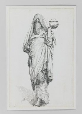 James Tissot (French, 1836-1902). <em>Woman of Cairo (Femme de Caire)</em>, 1886-1887 or 1889. Pen and ink on paper mounted on board, Sheet: 7 3/16 x 4 11/16 in. (18.3 x 11.9 cm). Brooklyn Museum, Purchased by public subscription, 00.159.370 (Photo: Brooklyn Museum, 00.159.370_IMLS_PS3.jpg)