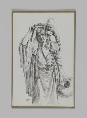 James Tissot (French, 1836-1902). <em>A Typical Woman of Jerusalem</em>, 1886-1887 or 1889. Pen and ink on paper mounted on board, Sheet: 7 1/8 x 4 1/4 in. (18.1 x 10.8 cm). Brooklyn Museum, Purchased by public subscription, 00.159.371 (Photo: Brooklyn Museum, 00.159.371_IMLS_PS3.jpg)