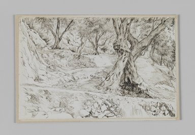 James Tissot (French, 1836-1902). <em>A Corner in the Valley of Hinnom (Un coin de la vallée de Hinon)</em>, 1886-1887 or 1889. Pen and ink on paper mounted on board, Sheet: 4 11/16 x 7 1/4 in. (11.9 x 18.4 cm). Brooklyn Museum, Purchased by public subscription, 00.159.373 (Photo: Brooklyn Museum, 00.159.373_IMLS_PS3.jpg)
