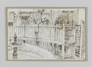 James Tissot (French, 1836-1902). <em>Garden of the Dancing Dervishes, Cairo (Jardin des derviches tourneurs au Caire)</em>, 1886-1887 or 1889. Pen and ink on paper mounted on board, Sheet: 3 9/16 x 5 3/16 in. (9.1 x 13.1 cm). Brooklyn Museum, Purchased by public subscription, 00.159.374.1 (Photo: Brooklyn Museum, 00.159.374.1_IMLS_PS3.jpg)