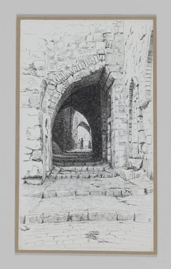 James Tissot (French, 1836-1902). <em>A Street in Jerusalem</em>, 1886-1887 or 1889. Pen and ink on paper mounted on board, Sheet: 8 1/2 x 4 7/8 in. (21.6 x 12.4 cm). Brooklyn Museum, Purchased by public subscription, 00.159.375 (Photo: Brooklyn Museum, 00.159.375_IMLS_PS3.jpg)