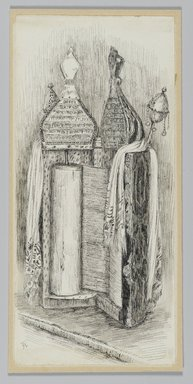 James Tissot (French, 1836-1902). <em>Jewish Bible from the Synagogue in Jerusalem</em>, 1886-1887 or 1889. Pen and ink on paper mounted on board, Sheet: 7 1/16 x 3 1/4 in. (17.9 x 8.3 cm). Brooklyn Museum, Purchased by public subscription, 00.159.376 (Photo: Brooklyn Museum, 00.159.376_PS2.jpg)
