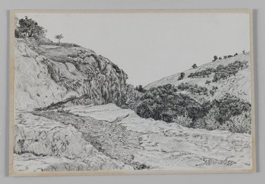 James Tissot (French, 1836-1902). <em>Valley of Hinnom (Vallée de Hinon)</em>, 1886-1887 or 1889. Pen and ink on paper mounted on board, Sheet: 5 1/8 x 7 9/16 in. (13 x 19.2 cm). Brooklyn Museum, Purchased by public subscription, 00.159.377 (Photo: Brooklyn Museum, 00.159.377_IMLS_PS3.jpg)