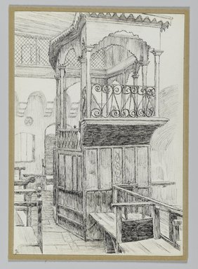 James Tissot (French, 1836-1902). <em>Synagogue of the Maugrabians at Jerusalem</em>, 1886-1887 or 1889. Pen and ink on paper mounted on board, Sheet: 6 1/8 x 4 1/4 in. (15.6 x 10.8 cm). Brooklyn Museum, Purchased by public subscription, 00.159.378 (Photo: Brooklyn Museum, 00.159.378_PS2.jpg)