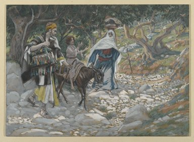James Tissot (French, 1836-1902). <em>The Return from Egypt (Retour d'Égypte)</em>, 1886-1894. Opaque watercolor over graphite on gray wove paper, Image: 7 1/16 x 9 11/16 in. (17.9 x 24.6 cm). Brooklyn Museum, Purchased by public subscription, 00.159.37 (Photo: Brooklyn Museum, 00.159.37_PS2.jpg)