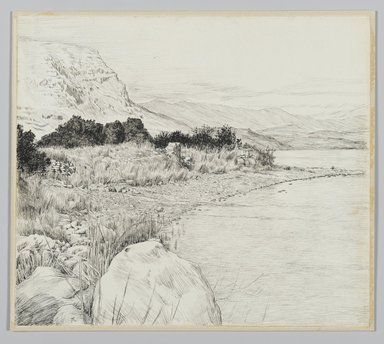 James Tissot (French, 1836-1902). <em>Sea of Tiberias</em>, 1886-1887 or 1889. Pen and ink on paper mounted on board, Sheet: 7 3/8 x 8 7/16 in. (18.7 x 21.4 cm). Brooklyn Museum, Purchased by public subscription, 00.159.380 (Photo: Brooklyn Museum, 00.159.380_PS2.jpg)