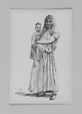 James Tissot (French, 1836-1902). <em>Woman of Geba, Samaria (Femme de Geba; Samarie)</em>, 1886-1887 or 1889. Pen and ink on paper mounted on board, Sheet: 7 3/16 x 4 11/16 in. (18.3 x 11.9 cm). Brooklyn Museum, Purchased by public subscription, 00.159.381 (Photo: Brooklyn Museum, 00.159.381_IMLS_PS3.jpg)