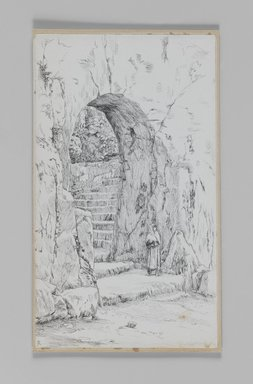 James Tissot (French, 1836-1902). <em>The Entrance to the Tomb of the Prophets</em>, 1886-1887 or 1889. Pen and ink on paper mounted on board, Sheet: 8 5/16 x 4 13/16 in. (21.1 x 12.2 cm). Brooklyn Museum, Purchased by public subscription, 00.159.383 (Photo: Brooklyn Museum, 00.159.383_IMLS_PS3.jpg)