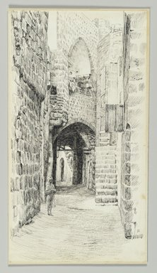 James Tissot (French, 1836-1902). <em>A Street in Jaffa</em>, 1886-1887 or 1889. Pen and ink on paper mounted on board, Sheet: 8 1/4 x 4 1/2 in. (21 x 11.4 cm). Brooklyn Museum, Purchased by public subscription, 00.159.384 (Photo: Brooklyn Museum, 00.159.384_PS2.jpg)