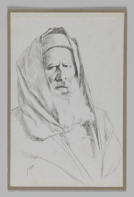 James Tissot (French, 1836-1902). <em>Type of Jew, Jerusalem</em>, 1886-1887 or 1889. Pen and ink, Sheet: 7 3/16 x 4 5/8 in. (18.3 x 11.7 cm). Brooklyn Museum, Purchased by public subscription, 00.159.386 (Photo: Brooklyn Museum, 00.159.386_IMLS_PS3.jpg)