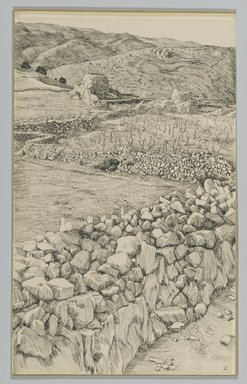 James Tissot (French, 1836-1902). <em>Vineyards with Their Watch Towers</em>, 1886-1887 or 1889. Pen and ink on paper mounted on board, Sheet: 8 3/16 x 5 in. (20.8 x 12.7 cm). Brooklyn Museum, Purchased by public subscription, 00.159.387 (Photo: Brooklyn Museum, 00.159.387_PS2.jpg)