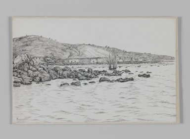 James Tissot (French, 1836-1902). <em>The Lake of Gennesaret near the Site of Bethsaida</em>, 1886-1887 or 1889. Pen and ink on paper mounted on board, Sheet: 4 15/16 x 7 11/16 in. (12.5 x 19.5 cm). Brooklyn Museum, Purchased by public subscription, 00.159.388 (Photo: Brooklyn Museum, 00.159.388_IMLS_PS3.jpg)