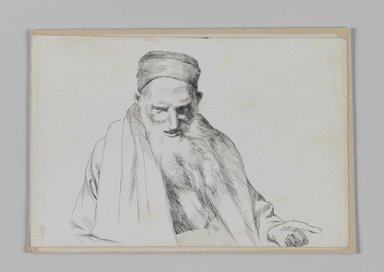 James Tissot (French, 1836-1902). <em>Type of Jew, Jerusalem</em>, 1886-1887 or 1889. Pen and ink on paper mounted on board, Sheet: 4 3/4 x 7 1/16 in. (12.1 x 17.9 cm). Brooklyn Museum, Purchased by public subscription, 00.159.389 (Photo: Brooklyn Museum, 00.159.389_IMLS_PS3.jpg)