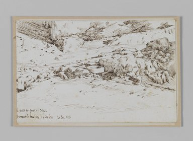 James Tissot (French, 1836-1902). <em>A Well near the Bridge of Kedron (Le puits du pont du Cédron)</em>, December 1886. Pen and ink on paper mounted on board, Sheet: 4 11/16 x 7 3/16 in. (11.9 x 18.3 cm). Brooklyn Museum, Purchased by public subscription, 00.159.392 (Photo: Brooklyn Museum, 00.159.392_IMLS_PS3.jpg)