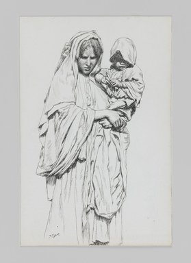 James Tissot (French, 1836-1902). <em>Woman and Child of Jericho</em>, 1886-1887 or 1889. Pen and ink on paper mounted on board, Sheet: 7 1/16 x 4 11/16 in. (17.9 x 11.9 cm). Brooklyn Museum, Purchased by public subscription, 00.159.394 (Photo: Brooklyn Museum, 00.159.394_IMLS_PS3.jpg)