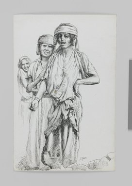 James Tissot (French, 1836-1902). <em>Women of Geba, Samaria (Femmes de Geba; Samarie)</em>, 1886-1887 or 1889. Pen and ink on paper mounted on board, Sheet: 7 3/16 x 4 11/16 in. (18.3 x 11.9 cm). Brooklyn Museum, Purchased by public subscription, 00.159.395 (Photo: Brooklyn Museum, 00.159.395_IMLS_PS3.jpg)