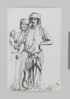 James Tissot (French, 1836-1902). <em>Women of Geba, Samaria (Femmes de Geba; Samarie)</em>, 1886-1887 or 1889. Pen and ink on paper mounted on board, Sheet: 7 3/16 x 4 11/16 in. (18.3 x 11.9 cm). Brooklyn Museum, Purchased by public subscription, 00.159.395 (Photo: Brooklyn Museum, 00.159.395_IMLS_PS3.jpg)