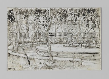James Tissot (French, 1836-1902). <em>Garden of the Citadel, Caire (Jardin de la citadelle, Caire)</em>, 1886-1887 or 1889. Pen and ink on paper mounted on board, Sheet: 3 9/16 x 5 5/16 in. (9 x 13.5 cm). Brooklyn Museum, Purchased by public subscription, 00.159.396 (Photo: Brooklyn Museum, 00.159.396_IMLS_PS3.jpg)