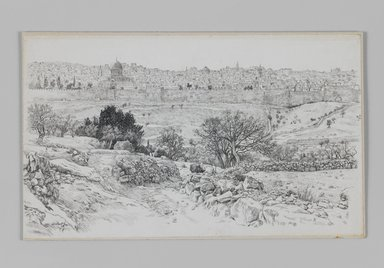 James Tissot (French, 1836-1902). <em>Jerusalem Seen from the Mount of Olives</em>, 1886-1887 or 1889. Pen and ink on paper mounted on board, Sheet: 5 3/4 x 9 5/8 in. (14.6 x 24.4 cm). Brooklyn Museum, Purchased by public subscription, 00.159.398 (Photo: Brooklyn Museum, 00.159.398_IMLS_PS3.jpg)