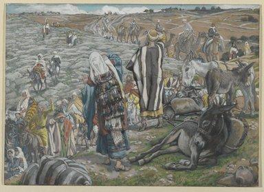 James Tissot (French, 1836-1902). <em>On Return from Jerusalem, It is Noticed that Jesus is Lost (Au retour de Jérusalem on s'aperçoit que Jésus est perdu)</em>, 1886-1894. Opaque watercolor over graphite on gray wove paper, Image: 5 13/16 x 8 3/16 in. (14.8 x 20.8 cm). Brooklyn Museum, Purchased by public subscription, 00.159.39 (Photo: Brooklyn Museum, 00.159.39_PS2.jpg)