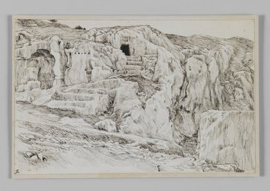 James Tissot (French, 1836-1902). <em>Ancient Tombs, Valley of Hinnom</em>, 1886-1887 or 1889. Pen and ink on paper, Sheet: 4 11/16 x 7 1/4 in. (11.9 x 18.4 cm). Brooklyn Museum, Purchased by public subscription, 00.159.400 (Photo: Brooklyn Museum, 00.159.400_IMLS_PS3.jpg)