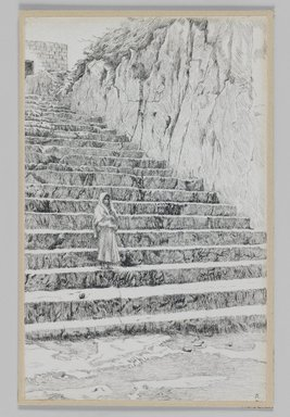 James Tissot (French, 1836-1902). <em>Steps Leading to the Tombs of the Prophets</em>, 1886-1887 or 1889. Pen and ink on paper mounted on board, Sheet: 8 3/8 x 5 1/2 in. (21.3 x 14 cm). Brooklyn Museum, Purchased by public subscription, 00.159.401 (Photo: Brooklyn Museum, 00.159.401_IMLS_PS3.jpg)
