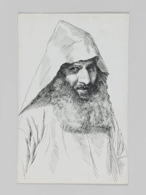 James Tissot (French, 1836-1902). <em>An Armenian</em>, 1886-1887 or 1889. Pen and ink, Sheet: 7 1/8 x 4 11/16 in. (18.1 x 11.9 cm). Brooklyn Museum, Purchased by public subscription, 00.159.402 (Photo: Brooklyn Museum, 00.159.402_IMLS_PS3.jpg)