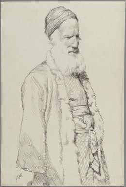 James Tissot (French, 1836-1902). <em>Type of Jew</em>, 1886-1887 or 1889. Ink on paper, Sheet: 6 15/16 x 4 11/16 in. (17.6 x 11.9 cm). Brooklyn Museum, Purchased by public subscription, 00.159.403.1 (Photo: Brooklyn Museum, 00.159.403.1_PS2.jpg)